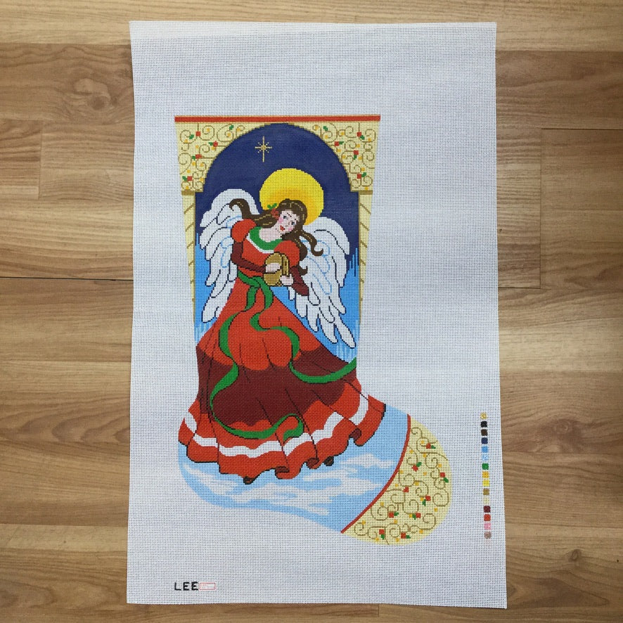 Angel with Tambourine Stocking Canvas - needlepoint