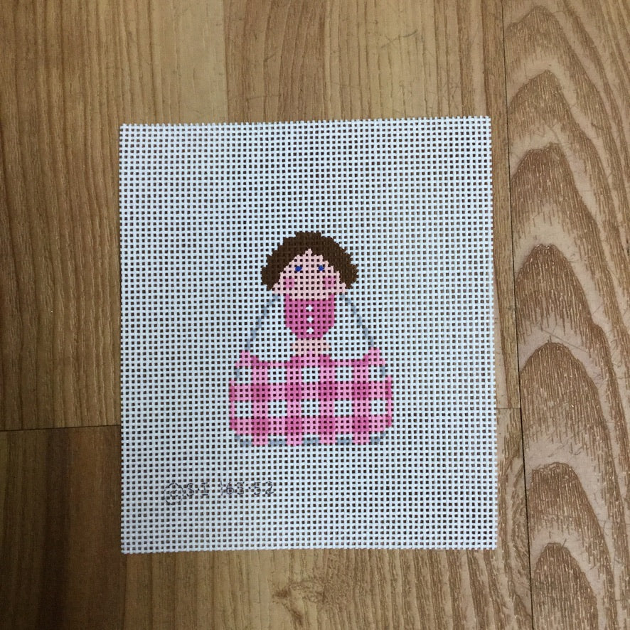 Pink Gingham Angel Canvas - needlepoint