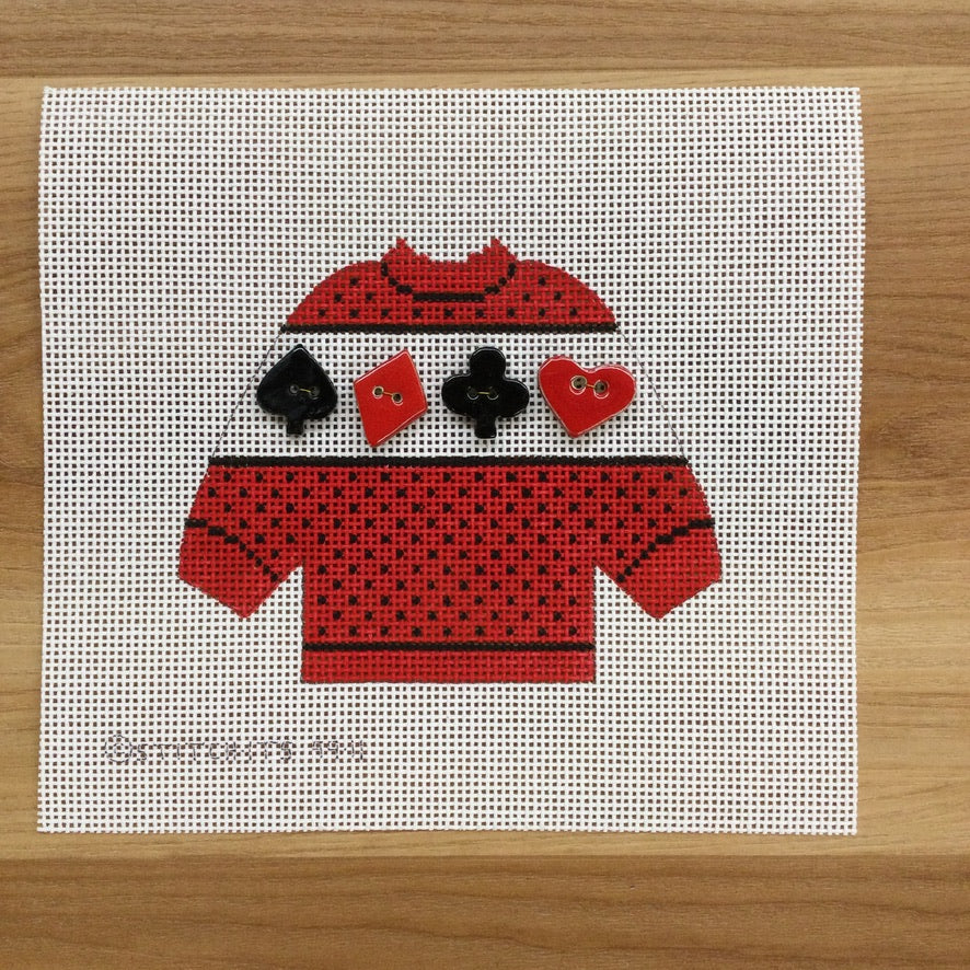 Playing Cards Pullover Sweater Needlepoint Canvas