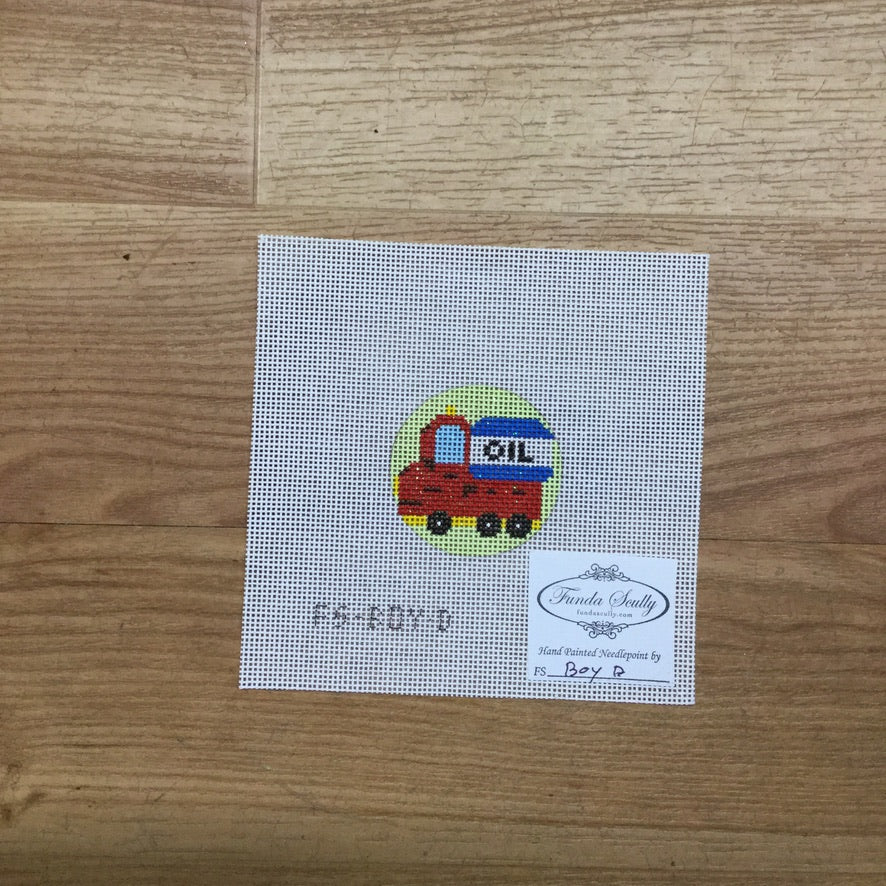 Oil Truck Round Canvas - needlepoint