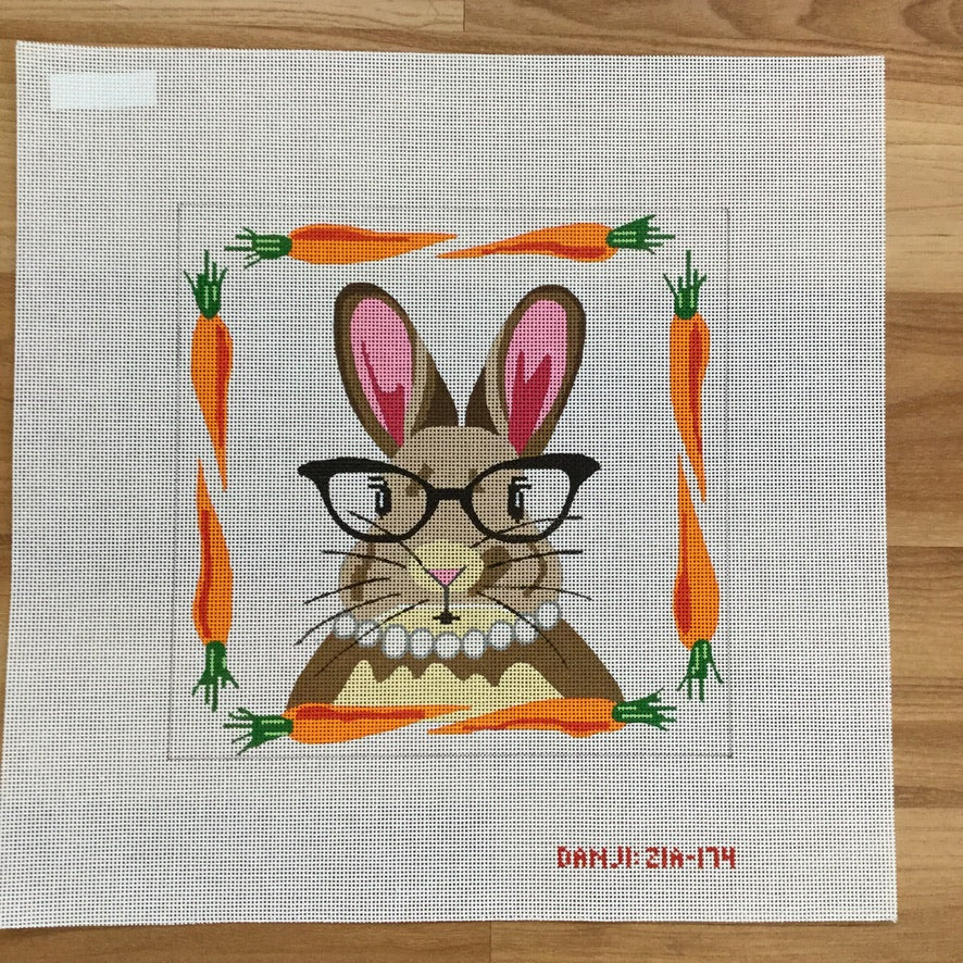 Ms. Rabbit with Glasses Canvas - needlepoint