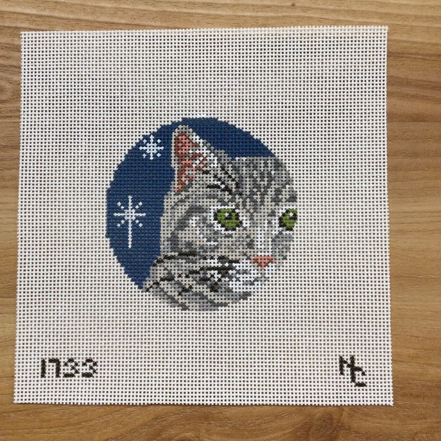 Gray Tabby Glimpse Canvas - needlepoint