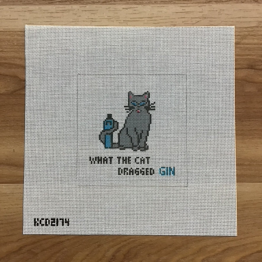 What The Cat Dragged In Square Canvas - KC Needlepoint