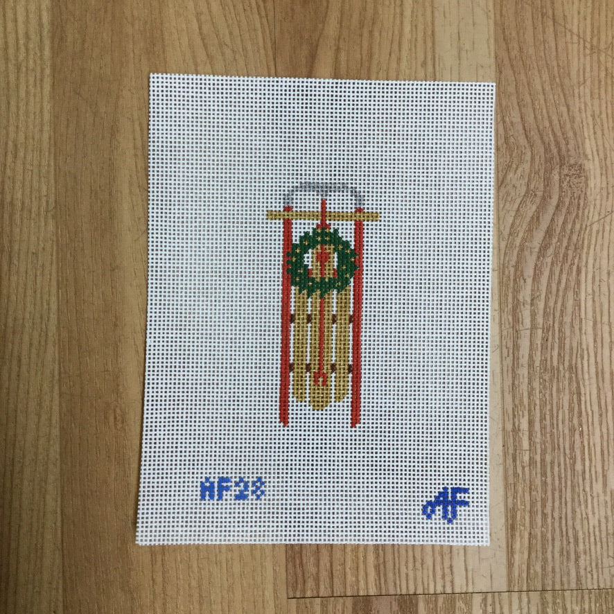 Sled Ornament Canvas - needlepoint
