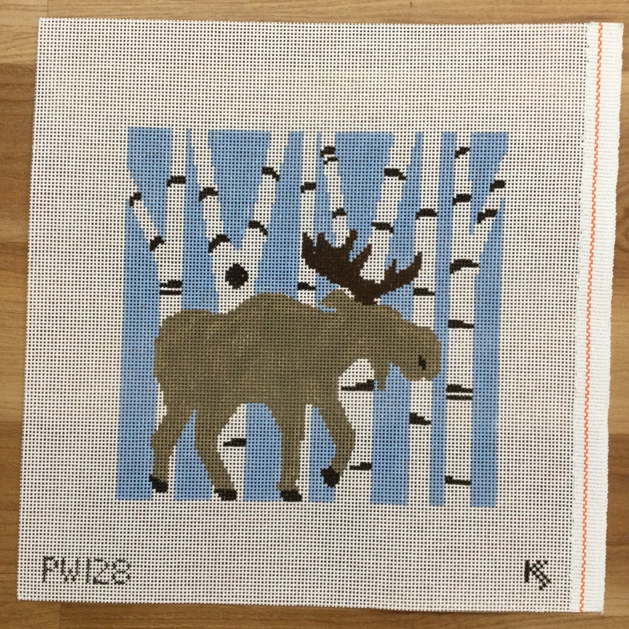 Moose in Birch Trees Pillow Canvas - needlepoint