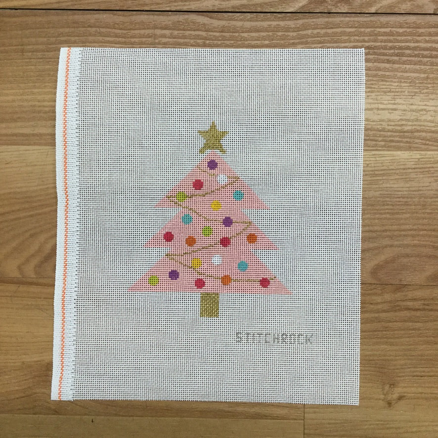 Pink Christmas Tree Canvas-Needlepoint Canvas-StitchRock Designs-KC Needlepoint