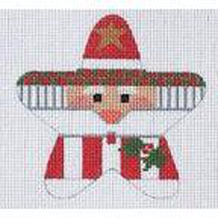 Holly Santa Star Canvas - needlepoint