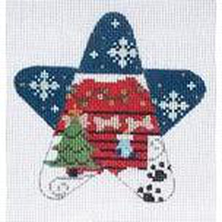 Dog House Star Ornament Canvas