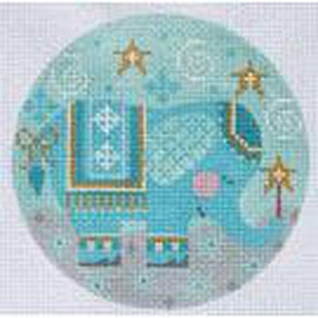 Blue Elephant Round Canvas - needlepoint