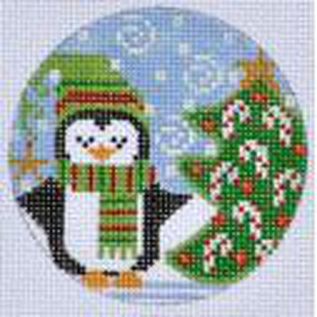 Christmas Tree Penguin Ornament Canvas - needlepoint