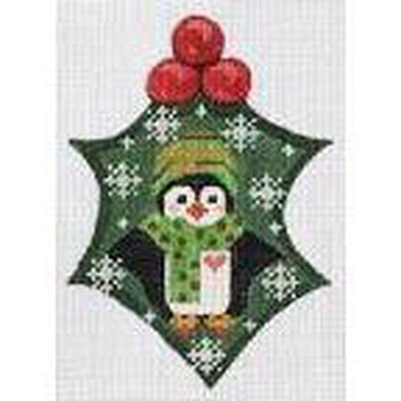 Penguin Holly Ornament Canvas-Needlepoint Canvas-Danji Designs-KC Needlepoint