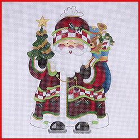 Squatty Santa with Tree Canvas-Strictly Christmas-KC Needlepoint