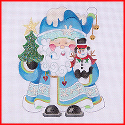 Squatty Santa with Snowman Canvas - needlepoint