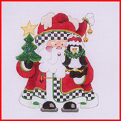 Squatty Santa with Penguin Canvas-Needlepoint Canvas-Strictly Christmas-KC Needlepoint
