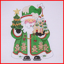 Squatty Santa with Gingerbread Men Canvas-Needlepoint Canvas-Strictly Christmas-KC Needlepoint