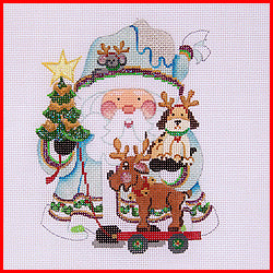 Squatty Santa with Dog Canvas-Needlepoint Canvas-Strictly Christmas-KC Needlepoint