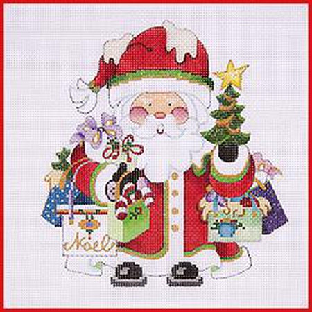 Shopping Squatty Santa Canvas-Needlepoint Canvas-Strictly Christmas-KC Needlepoint