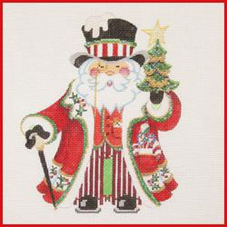 Squatty Santa with Top Hat Canvas - needlepoint