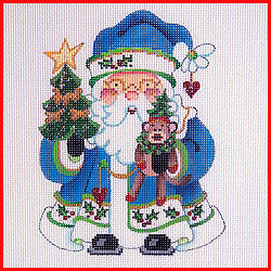 Squatty Santa with Sock Monkey Canvas-Needlepoint Canvas-Strictly Christmas-KC Needlepoint