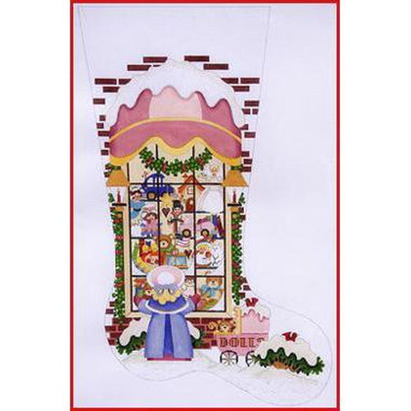 Girl at Toy Store Window Stocking Canvas-Needlepoint Canvas-Strictly Christmas-KC Needlepoint