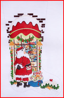 Santa in Boy Toy Shop Window Stocking Canvas-Needlepoint Canvas-Strictly Christmas-KC Needlepoint