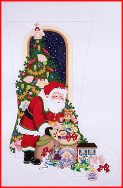 Santa with Girl Toy Bag Stocking Canvas-Needlepoint Canvas-Strictly Christmas-KC Needlepoint