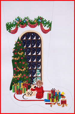 Boy Watching for Santa with Dog Stocking Canvas-Needlepoint Canvas-Strictly Christmas-KC Needlepoint
