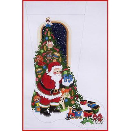 Santa with Presents Stocking Canvas - needlepoint