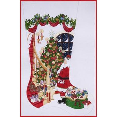 Santa with Stairs Stocking Canvas - needlepoint