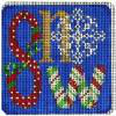 Snow Square Needlepoint Canvas - needlepoint