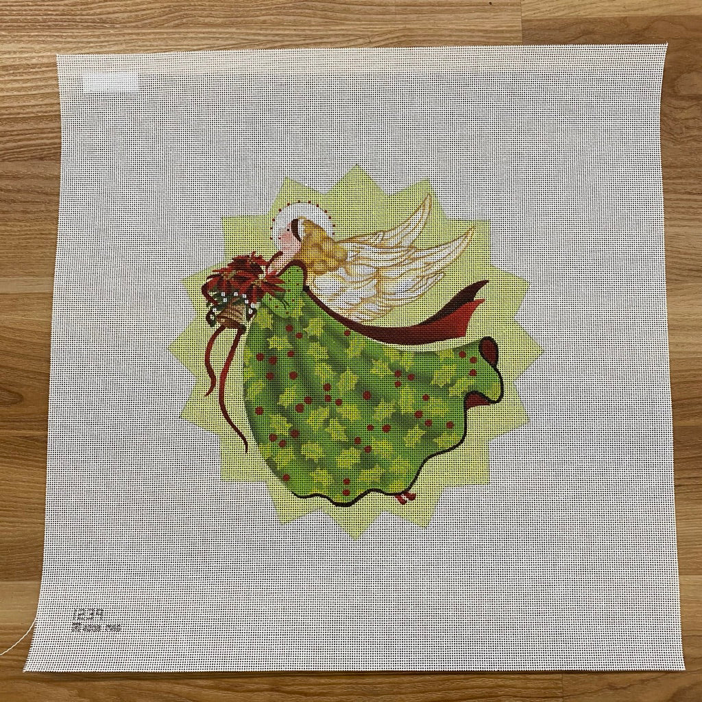 Holly Angel Star Needlepoint Canvas - needlepoint