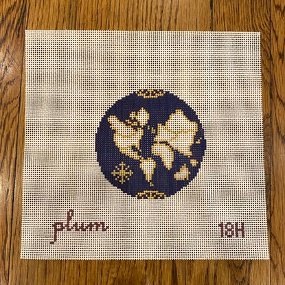 Small Atlas Navy Needlepoint Canvas