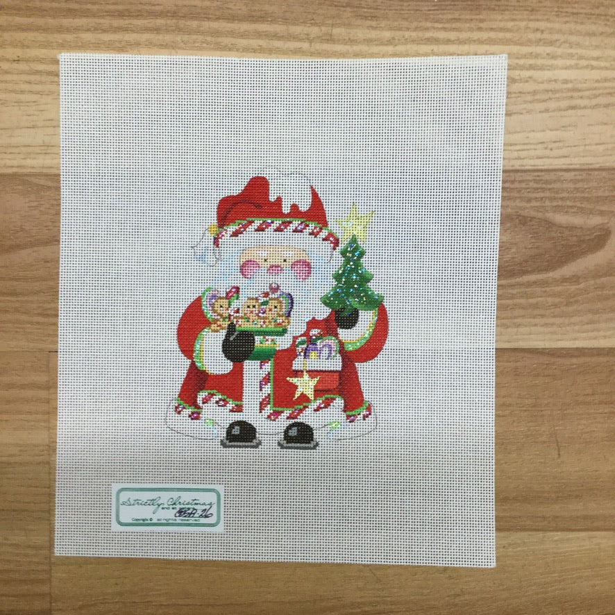 Gingerbread Cookies Squatty Santa Canvas-Needlepoint Canvas-Strictly Christmas-KC Needlepoint