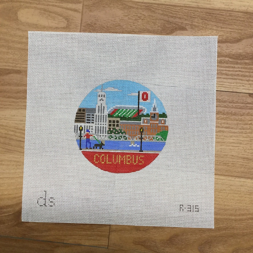 Columbus Travel Round Needlepoint Canvas-Needlepoint Canvas-Doolittle Stitchery-KC Needlepoint