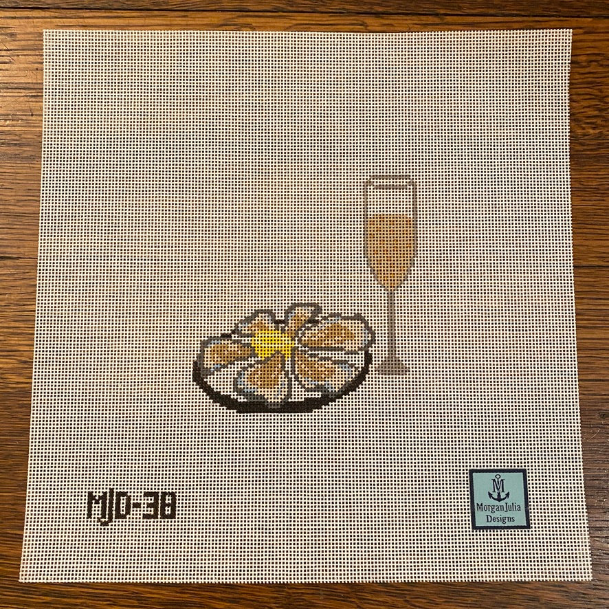 Oysters and Champagne Canvas - needlepoint
