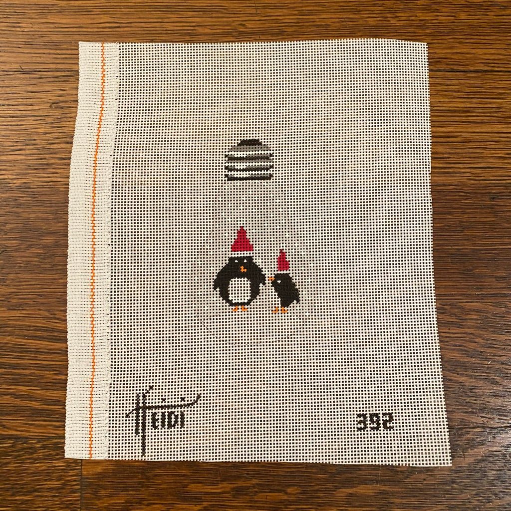 Penguins Light Bulb Canvas - needlepoint
