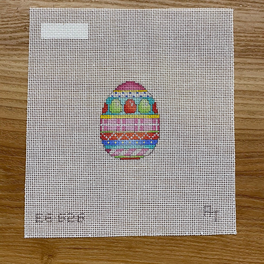 Egg Plaid Stripes Mini Egg Canvas - needlepoint