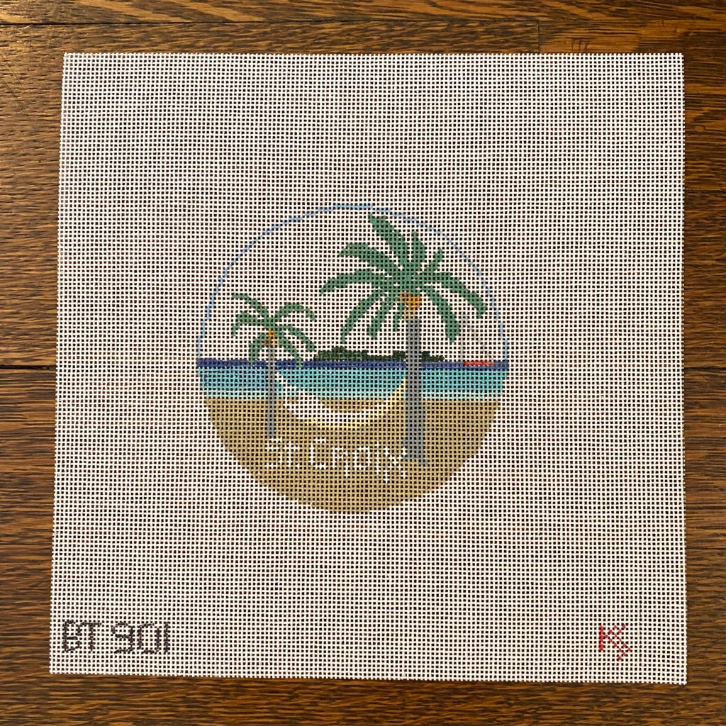 St. Croix Travel Round Canvas - needlepoint