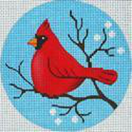 Cardinal Round Ornament Canvas-Needlepoint Canvas-Vallerie Needlepoint-18 Mesh-KC Needlepoint