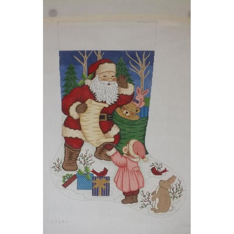Santa with List Girl Stocking Canvas - needlepoint