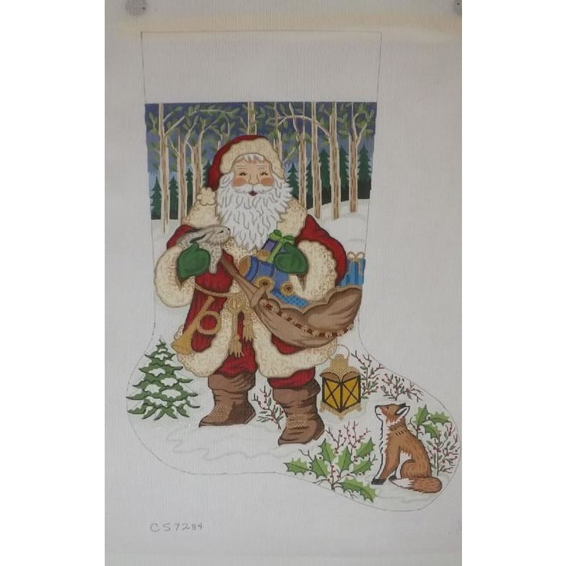Santa with Fox Christmas Stocking-Needlepoint Canvas-Alexa Needlepoint Designs-13 mesh-KC Needlepoint