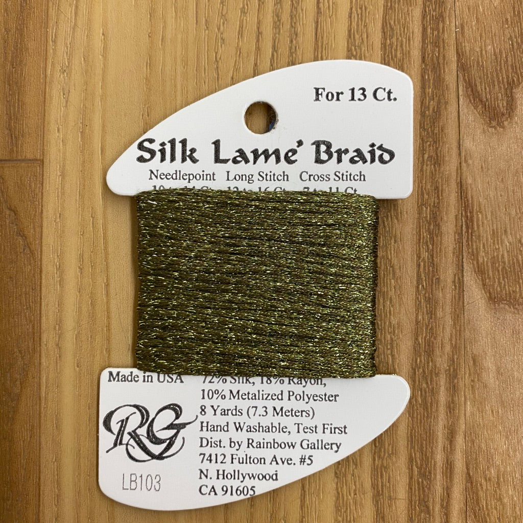 Silk Lamé Braid LB103 Olive - needlepoint