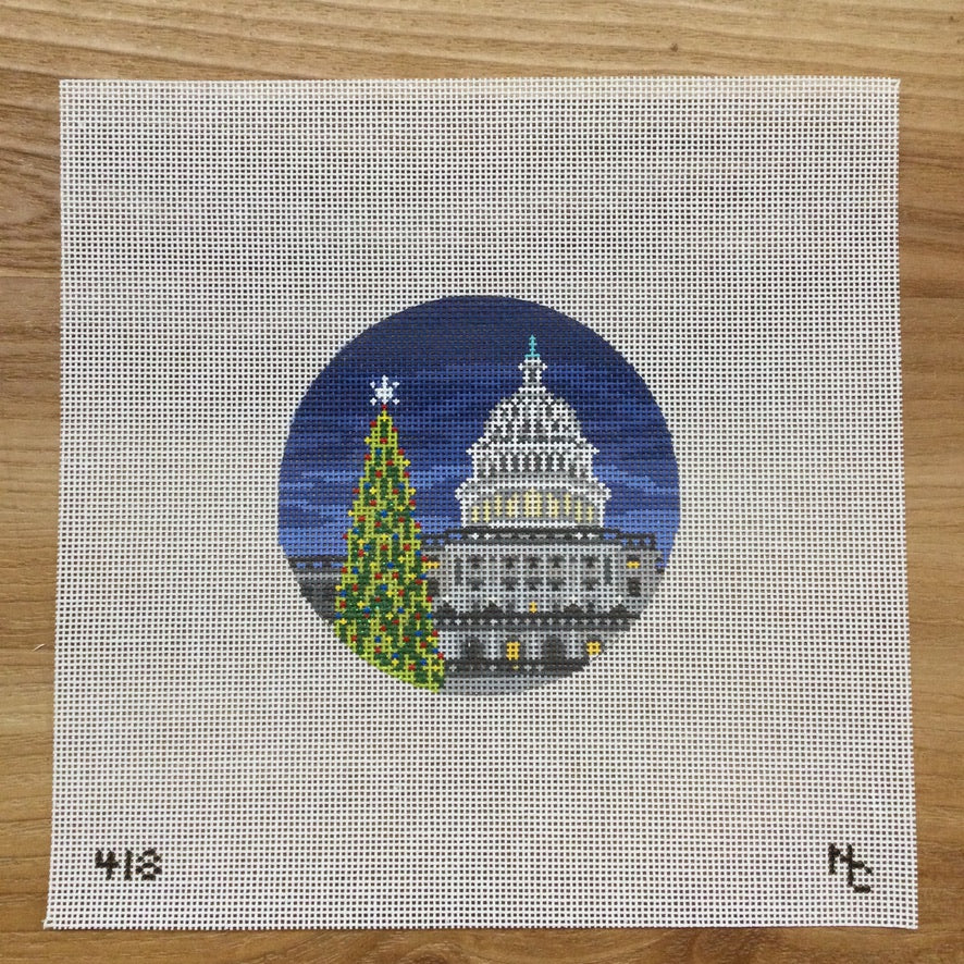 Capitol DC Christmas Tree Canvas - needlepoint
