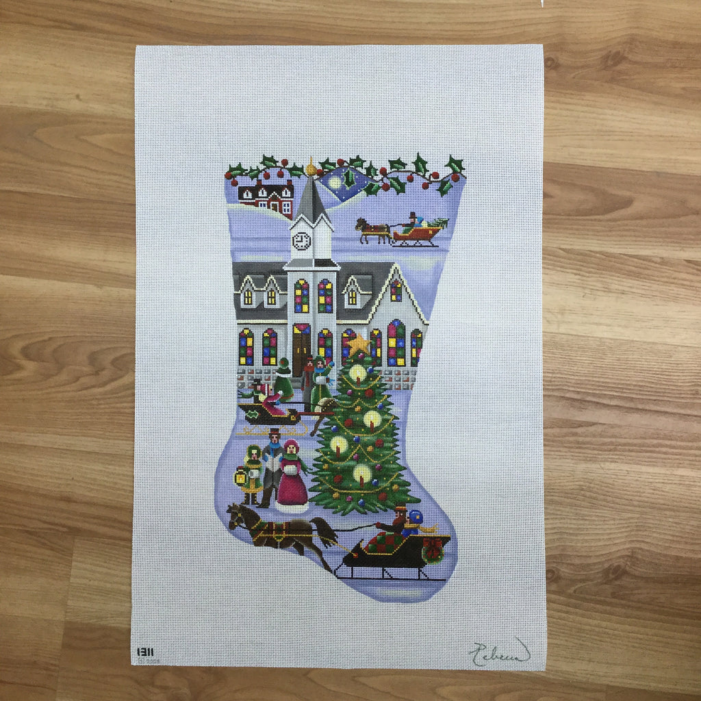 Town Square Christmas Stocking Canvas-Needlepoint Canvas-Rebecca Wood Designs-KC Needlepoint