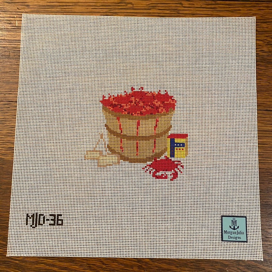 Bushel of Crabs Canvas - needlepoint