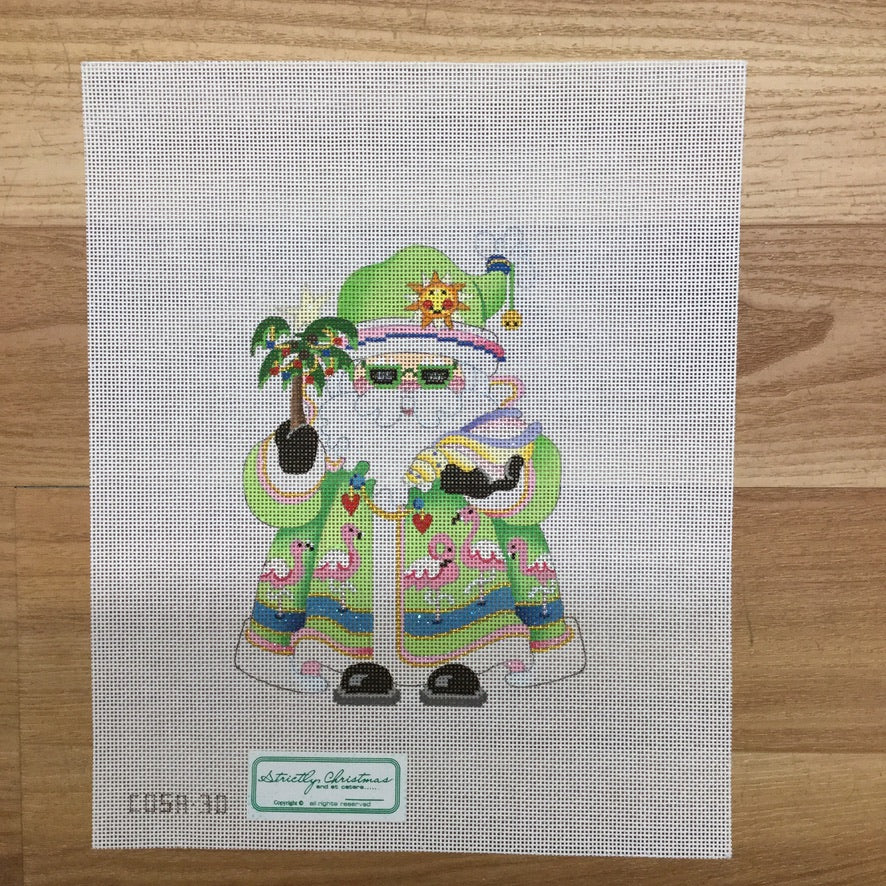 Flamingos Squatty Santa Canvas - needlepoint