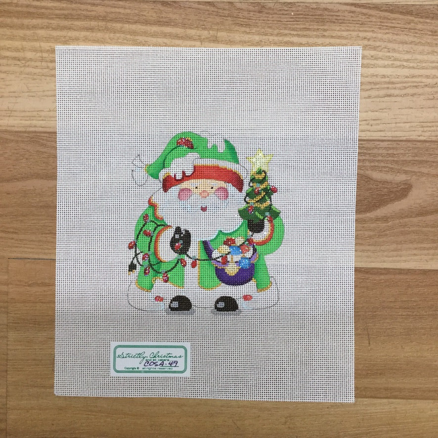 Christmas Lights Squatty Santa Canvas-Needlepoint Canvas-Strictly Christmas-KC Needlepoint