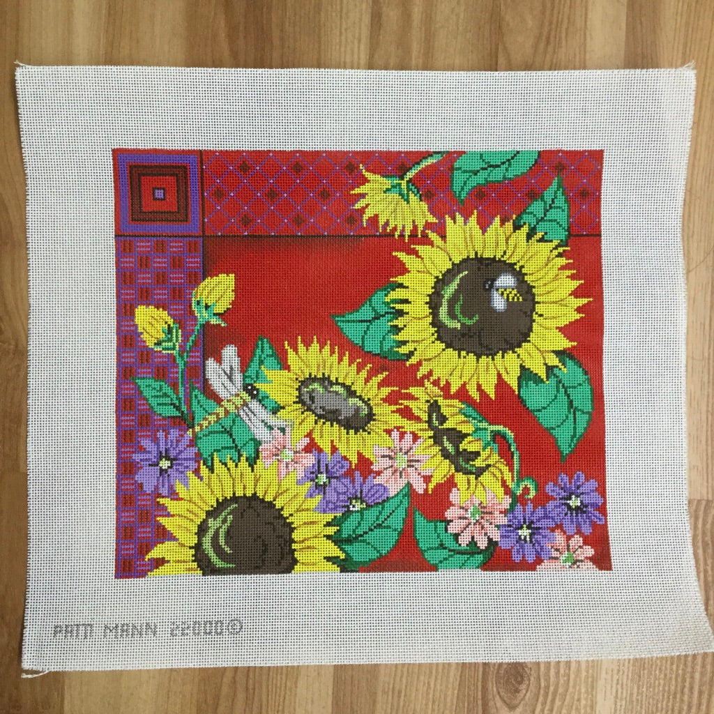 Sunflowers, Dragonfly and Bee on Red Canvas - needlepoint