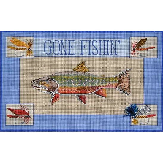 Gone Fishing Trout Canvas - KC Needlepoint