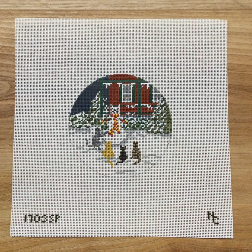 Snow Cat Party Canvas - needlepoint